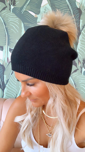 Black Beanie with Brown Pom Pom