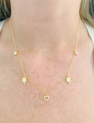 Lucky Heart & Clover Charm Necklace