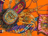 Orange & Jewel Tone Silk Scarf