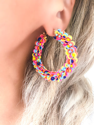 Beaded Rainbow Hoops-PRESALE