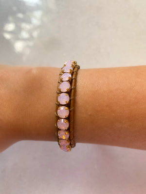 Swarovki Crystal Leather Bracelet/Icy Pastel Pink