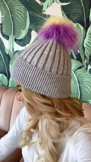 Grey Toque with Rainbow Pompom