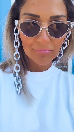 White and Grey Oval Link Sunglasses Chain