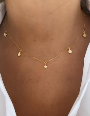 Short Dainty Charms Necklace