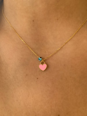 Mini Enamel Heart Necklace (pink)
