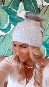 Light Grey Beanie with Crystals