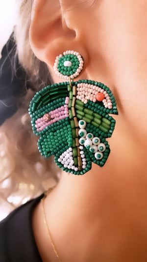 Beaded Palm Earrings