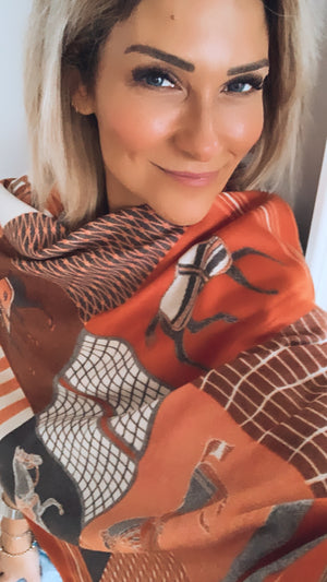 Classic Burnt Orange Horse Pattern Shawl
