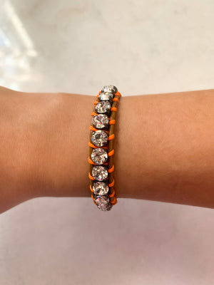 Swarovski Crystal Leather Bracelet/Clear & Neon Orange