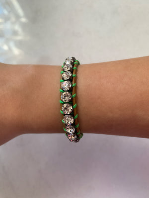 Swarovski Crystal Leather Bracelet/Clear & Neon Green