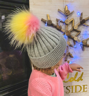 Kids Grey Toque with Unicorn Pompom