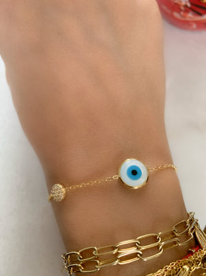 Mother of Pearl Evil Eye with Crystal Disc Bracelet