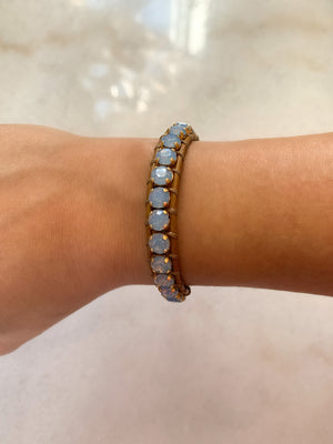 Swarovski Crystal Leather Bracelet/Glacier Blue