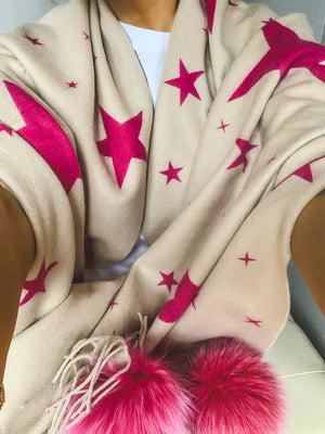 Pink and Beige Stars Shawl