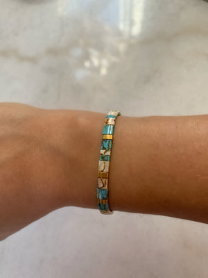 Turquoise and Gold Tila Bracelet