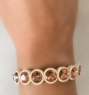 Cream and Peach Pink Crystal Bracelet
