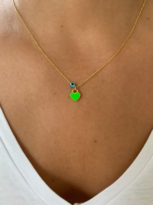 Lime Green Mini Enamel Heart Necklace