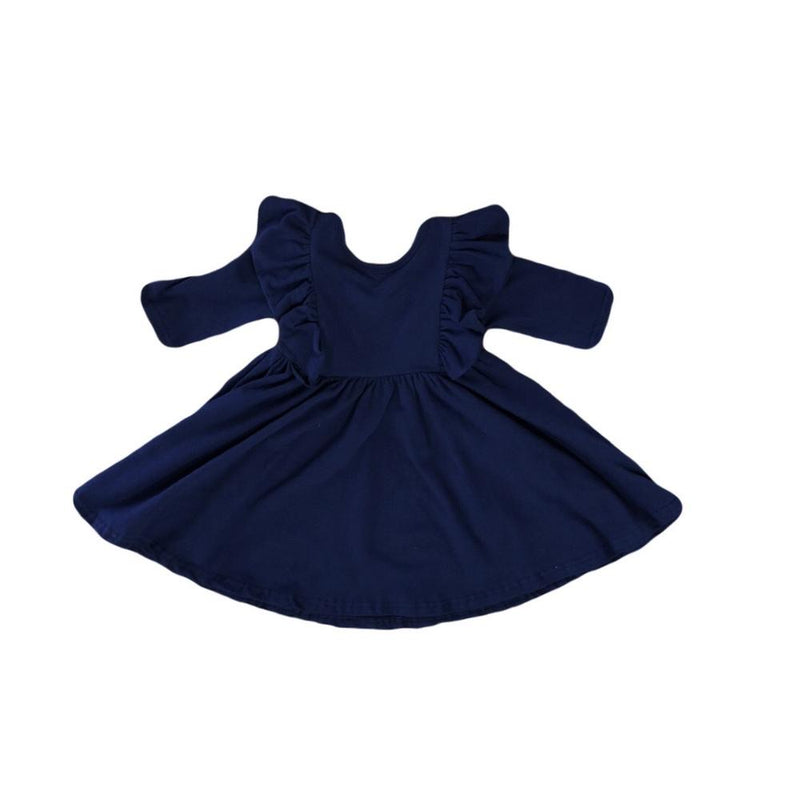 Navy Ruffle Twirl Dress