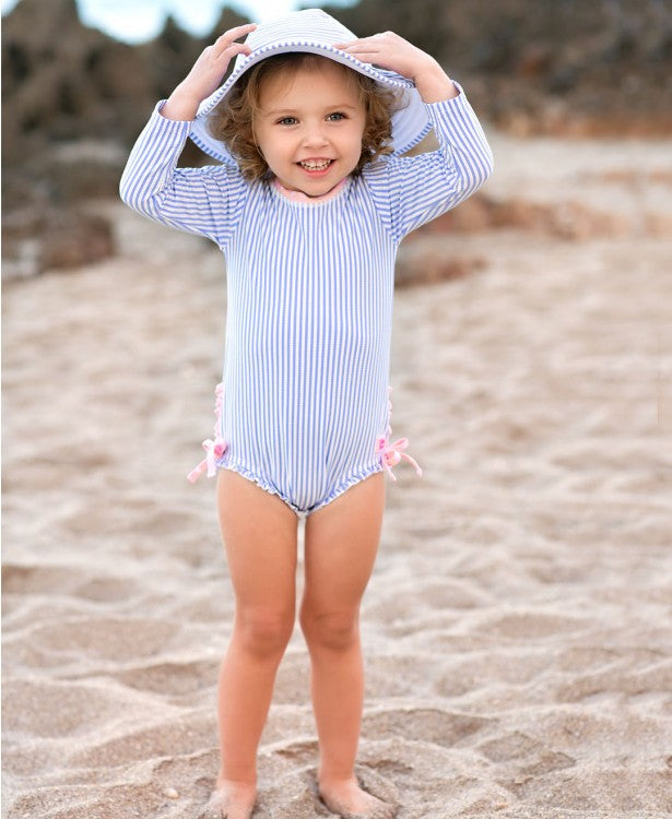Periwinkle Blue Seersucker One Piece Rash Guard