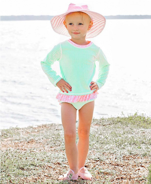 Mint Seersucker Long Sleeve Rash Guard Bikini