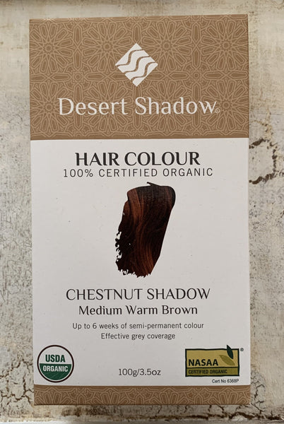 Desert Shadow 100% Certified Organic Hair Dye - Chestnut Shadow 100g
