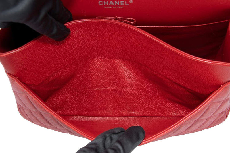 Attic House Bags CHANEL CLASSIC JUMBO CC BUCKLE CAVIAR LEATHER RED COLOR A-0277-CHA