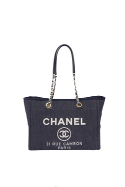 Attic House Bags CHANEL DEAUVILLE DARK BLUE DENIM MM SIZE GOLD HARDWARE CHAIN TOTE H-830-CHA