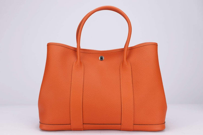 Attic House Bags Hermes Garden Party 36 Orange Poppy Togo, Stamp T, SHW, with DustCover _ Box A-0382-HER