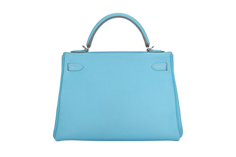 Attic House Bags HERMES KELLY 32 EPSOM SHW L/BLUE STRAP W/KEY A-0319-HER