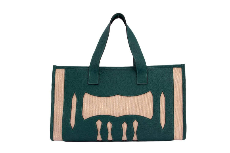 Attic House Bags Hermes Petite H Malachite Mix Canvas Tote HT-0337-HER