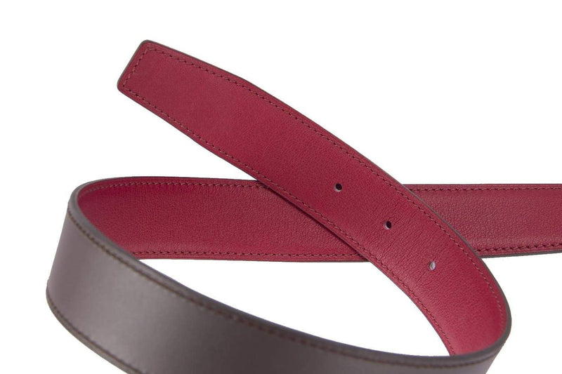 Attic House Belt Hermes 90CM Belt Red x Brown Swift Leather Gold H Buckle AHC-5055-HER