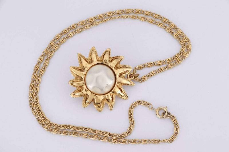 Attic House Other Accessories CHANEL FAUX PEARL SUN COLLAR NECKLACE IN GOLD COLOR 51CM H-528-CHA