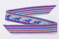 Attic House Scarf Hermes Blue Horses Purple Silk Twilly MDG-697-HER