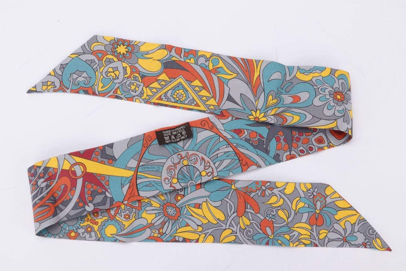 Attic House Scarf Hermes Silk Twilly Flower Yellow H-149-HER