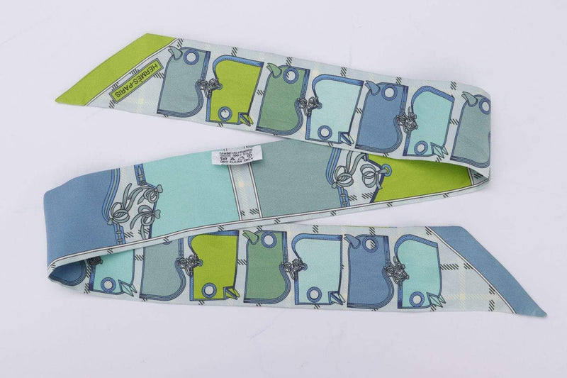 Attic House Scarf Hermes Silk Twilly Green, Blue Square MDG-681-HER