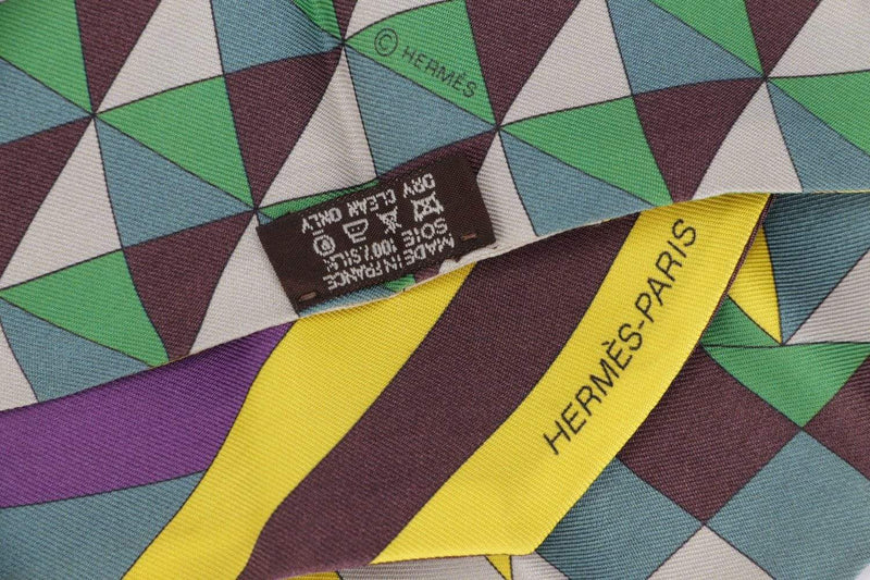 Attic House Scarf Hermes Silk Twilly Yellow Purple MDG-026-HER