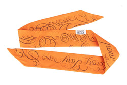 Attic House Scarf SILK TWILLY ORANGE WITH BROWN CALIGRAPHY FONTS NO BOX HT-0251-HER