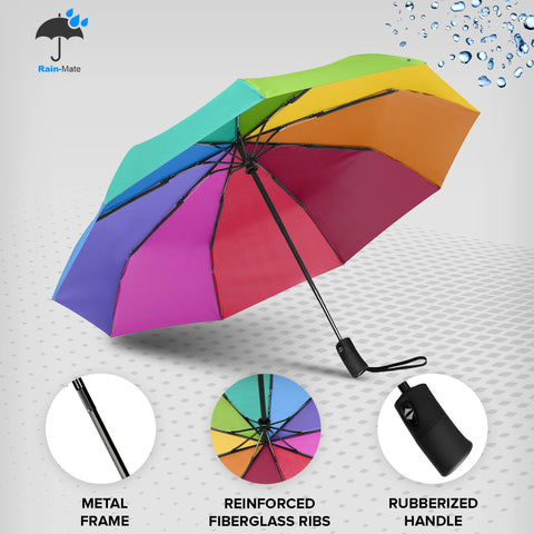 Rain-Mate Compact Travel Umbrella (Rainbow)