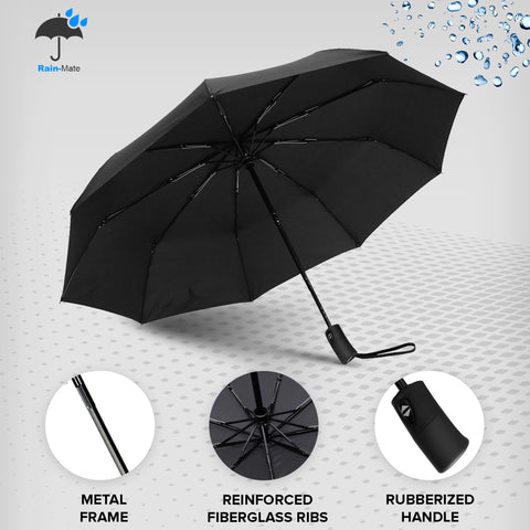 Rain-Mate Compact Travel Umbrella (Black)