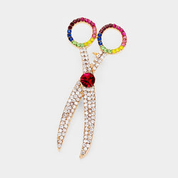 Rainbow Scissor Brooch