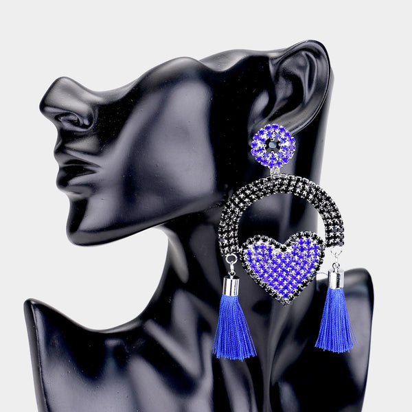 Royal Blue Fringe Earrings