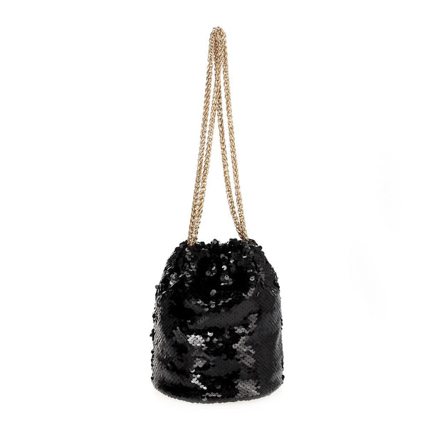 Black Beauty Sequin Pull Chain Bag