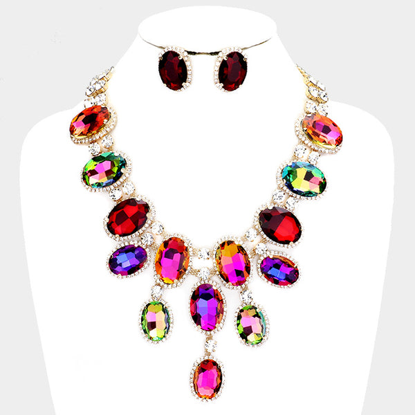 Regal Rainbow Necklace & Earrings