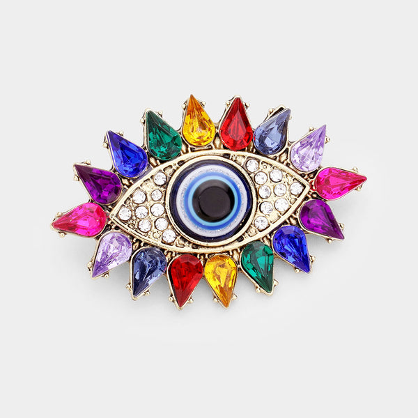 Rainbow Evil Eye Brooch
