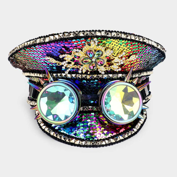 Rainbow Sequin Captain's Hat