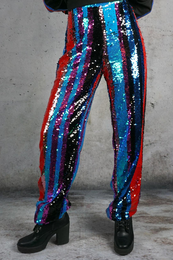 Paris Carnival Striped Sequin Pants