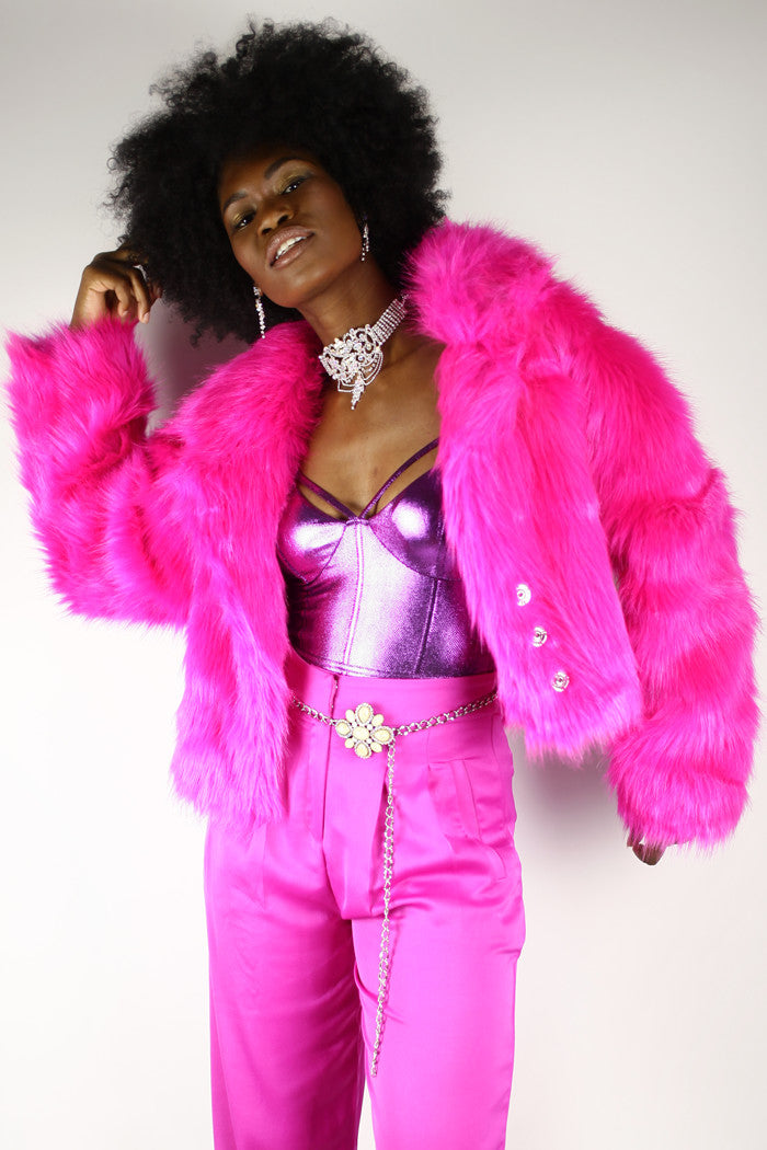 Power Packed Pink Faux Fur Jacket