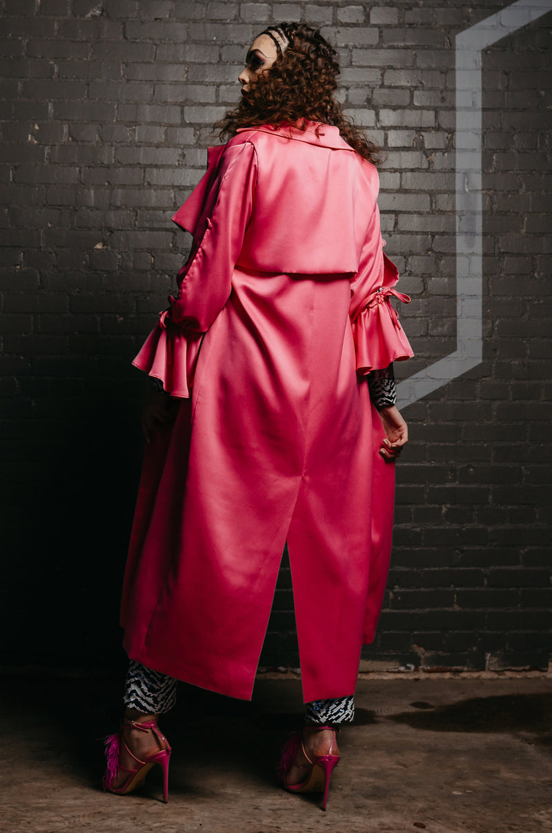 Coming In Hot Pink Trench Coat