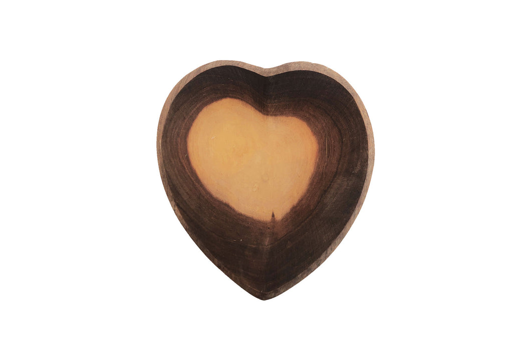 CARVED WOOD HEART BOWL