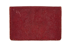 RED VINTAGE SHAGREEN CLUTCH